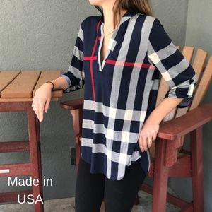 Tops - Navy blue Plaid Top